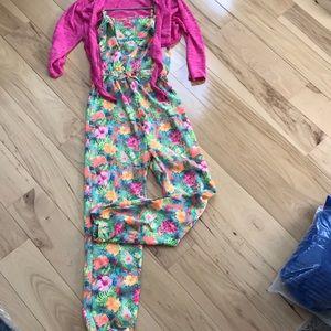 Hawaiian floral print jumpsuit with cardigan.  Euc